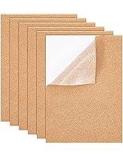 BENECREAT 6 stuks A4 zelfklevende kurkplaten 30 x 21 cm rechthoekige onderzetters kurk backing vellen voor wanddecoratie, party (4 mm dik)