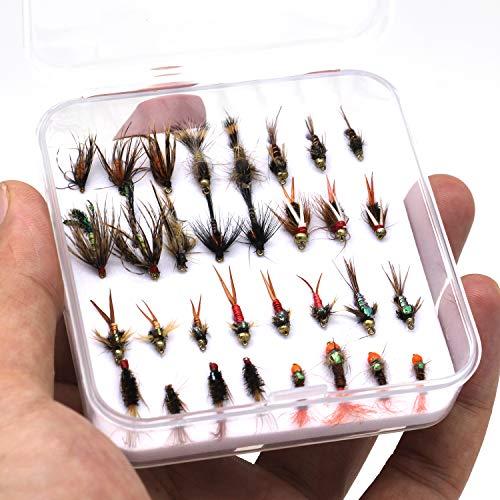 FAISOX Fly Fishing 32pcs Wet Flies Nymphs Handmade Assortment Kit for Flyfishing Trout with Mini Box (32pcs Flies)