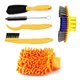 Bike Cleaning Tool Set, 6Pieces Precision Bicycle Cleaning Tool Tarpered Detail Brush Wheel Brush Scraper Bike clean mitt Tire Scrubber Multipurpose Practical and portable for Mountain,BMX Bike
