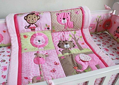 naughtyboss Mädchen Baby Bettwäsche Set Baumwolle 3D-Stickereien Elefant Löwen appliziert Giraffen Tiere Quilt Bumper Bettvolant Spannbettlaken 7-teilig Pink