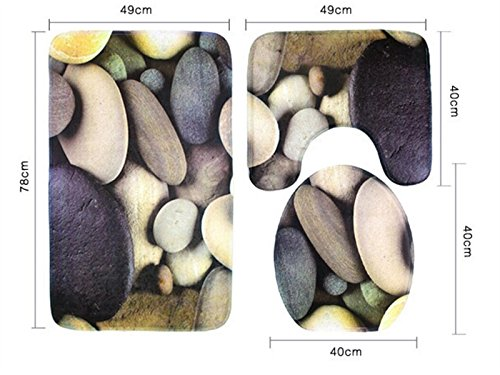 Hezon 3PCS Colored Stones Bathroom Set Toilet Mat Toilet Cover Non-slip Mat EASY TO USE by Hezon