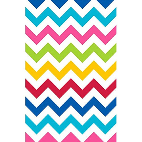 Amscan Disposable Plastic Lined Paper Table Cover In Chevron Print, 54 x 102