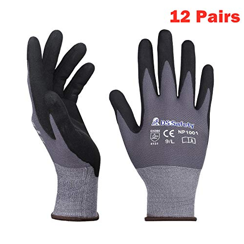 DS Safety NP1001 Nylon Knit Work Gloves with Micro Foam Technology & Spandex Liner Nitrile Coated Work Gloves CE Approved 15 Gauge Ergonomic Design Men's Thin Working Gloves 12Pairs (XL (Dipped Gloves Nylon)
