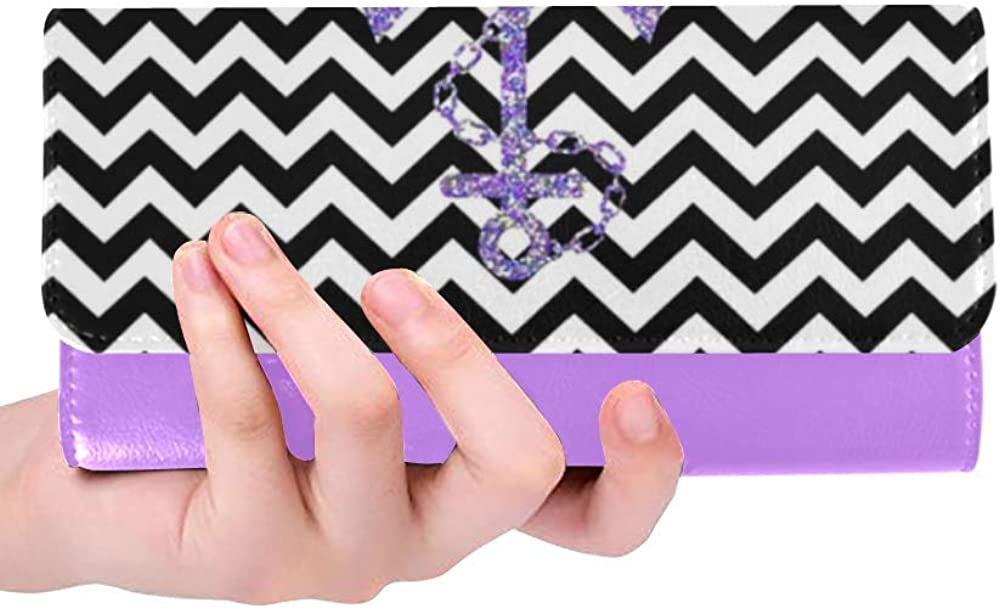 InterestPrint Chevron Infinity Anchor Large Leather Trifold Multi Card Holder Wallet Clutch Long Purse for Women