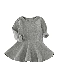 Sumen Baby Girls Cotton Candy Color Long Sleeve Casual Princess Dress