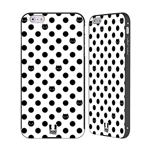 Head Case Designs Nero Gatti A Pois Nero Cover Contorno con Bumper in Alluminio per Apple iPhone 6 Plus / 6s Plus