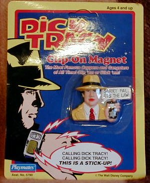 Disney s Dick Tracy Collectable Magnets, Dick Tracy, Steve the Tramp, Lips Manlis, Al Big Boy Caprice, Prune Face, Sam Catchem on Magnet Clip(1990)