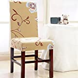 Yunhigh 4PCS Stretchy Dining Chair Slipcovers Removable Chair Protective Covers for Dining Room Hotel Banquet - Beige Ceremony