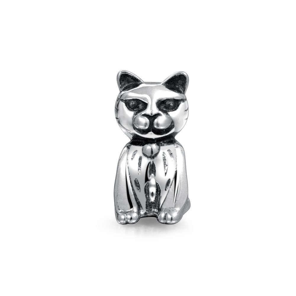 Bling Jewelry Sitting Kitty Cat Charm Bead .925 Sterling Silver PBX-HS-736