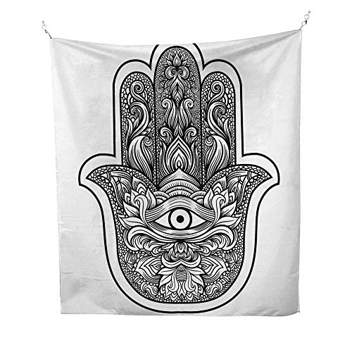 - Hamsasimple tapestryBoho Chic Style Line Art Religious Mascot with Third Eye Ethnic Mehndi Tattoo 60W x 91L inch Art tapestryBlack and White