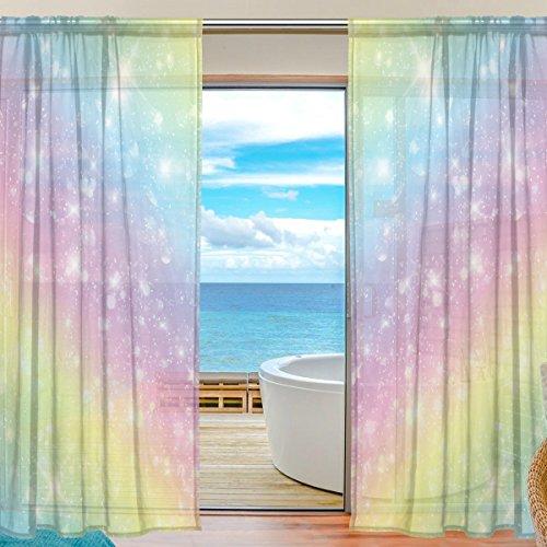 Bettken Galaxy Rainbow Glitter Star Polyester Fiber Rod Pocket Window Sheer Curtains for Bedroom Living Room Door Voile Curtain Panels Gauze Drapes(2 Set,55 x 84in)