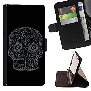 KingStore / Leather Etui en cuir / Samsung Galaxy S6 EDGE / Minimalista cráneo Mínimo Azúcar