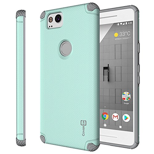 Google Pixel 2 Case, CoverON Bios Series Slim Fit Protective Hard Phone Cover with Embedded Metal Plate for Magnetic Car Mounts - Powder Blue on Gray