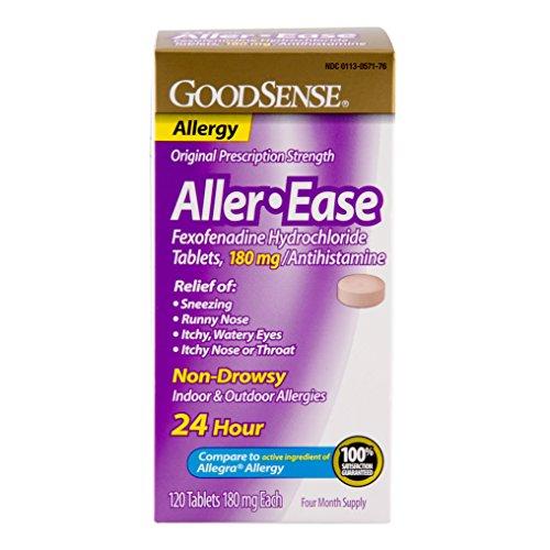 GoodSense Aller-Ease Fexofenadine Hydrochloride Tablets, 180 mg, 120 Count by Good Sense