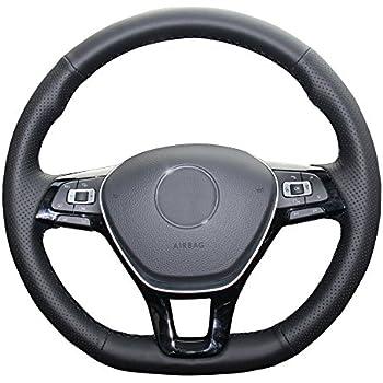 Eiseng DIY Black Genuine Leather Steering Wheel Cover for 2017 2016 2015 Volkswagen VW Jetta Sedan Hybrid Passat e-Golf Golf Sportwagen 2018 Tiguan 2019 ...