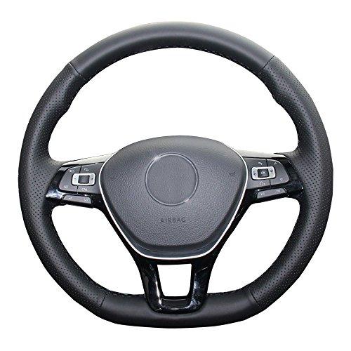 Eiseng DIY Black Genuine Leather Steering Wheel Cover for 2017 2016 2015 Volkswagen VW Jetta Sedan Hybrid Passat e-Golf Golf Sportwagen 2018 Tiguan 2019 Atlas Accessories Black ()