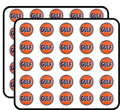 Vintage Round Gulf Gas Logo (Motor Oil car Gasoline) Sticker for Scrapbooking, Calendars, Arts, Kids DIY Crafts, Album, Bullet Journals ()