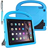 FineGood Protective Kids Case for 9.7 inch Apple iPad 2 3 4 Tablet, Convertible Light Weight Shock Proof EVA Cover Case with Carrying Handle & Stand, with Stylus Ball Point Pen - Blue