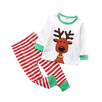 Kids Christmas Pajamas Cotton, Little Sky Girls Boys Xmas Pjs Set Long Sleeve T-shirt with Pants Set,B,100/3-4T