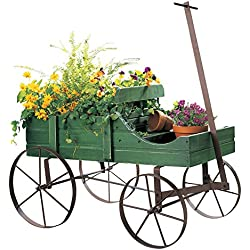 Amish Wagon Decorative Garden Planter, Green, Weathered, Wood