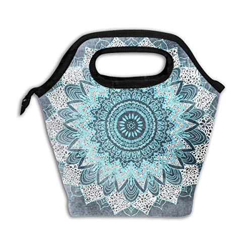 Hippie Mandala Blue Bloom Rose Lunch Box Bag Insulated Cooler Ice Lunchbox Tote Bag Handbag For Men Women Adult Boys Girls ()