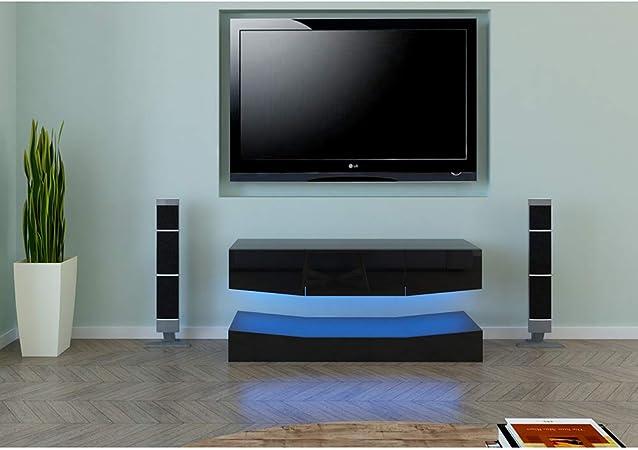 Binrrio Mueble de TV LED moderno con cajón, mueble de entretenimiento para TV, mesa de televisión con estante de luz LED para sala de estar o dormitorio: Amazon.es: Hogar