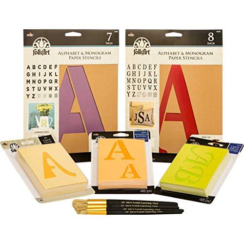 FolkArt Ultimate Paper Alphabet Stencil & Brush Set