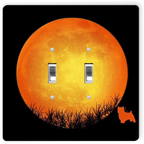 Rikki Knight 41310 Double Toggle Norwich Terrier Dog Silhouette By Moon Design Light Switch Plate