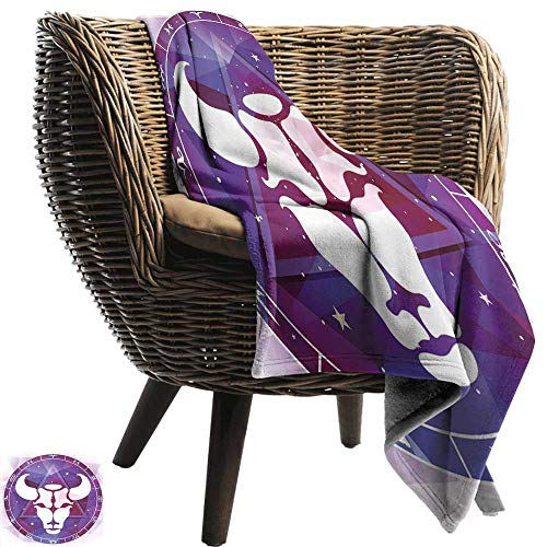 Knee Blanket Taurus Zodiac on Bull Figure with Geometric Triangle Over Space Background Image Lightweight Bed or Couch Blanket 60