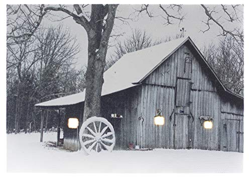 Oak Street Wagon Wheel Snowy Barn LED Art 8