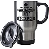 BLACK This is what an AWESOME Uncle Looks like SILVER Mug - Gift idea work