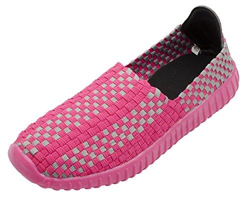 Santimon Femmes Casual Appartements Tissés Confortable Mode Sport Chaussures De Marche Glisser Sur Sneaker Rose