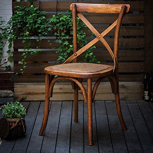 Dining Chair Length 17.7X Width 18X Height 35 Inches Woven Rattan Chair for Negotiation in The Kitchen Garden Solid Wood Cross Back Lounge Chair