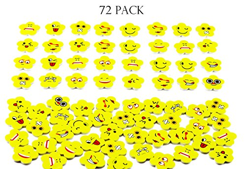 Fyess 72Pcs Assorted Flower Emoji Face Erasers/Stationery Erasers Gift For Kids -Yellow