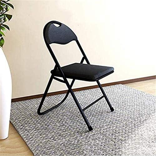 Chaise pliante, Chaise de bureau portable, Tissu Oxford, président Ordinateur, cadre en acier, Chaise à manger léger, confortable et durable, facile à ranger (Size : Black)