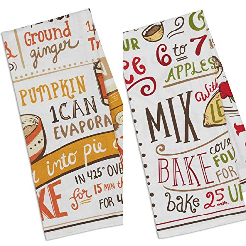 (Design Imports Set of 2 Apple Pie/Pumpkin Pie Recipe Kitchen Towel Gift Set)