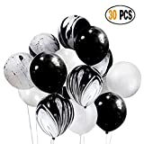 black and white decorations DIvine 30 Pcs 12 Inch Black White Balloons Set, Black Agate Marble Tie Dye Swirl Balloons, Black and White Latex Balloons for Birthday Party Decorations Baby Showers