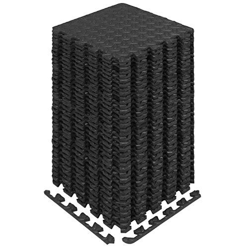 Yes4All Interlocking Exercise Foam Mats with Border - Interlocking Floor Mats for Gym Equipment - Eva Interlocking Floor Tiles (Black) (Best Flooring For Basement Workout Room)