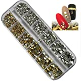 2400pcs Mix Sizes Golden & Silver Round Square Metal Alloy Studs Design For Nail Art Cellphone DIY Decoration