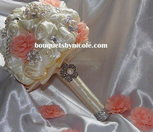 Made to order Brooch Bouquet Wedding Bridal Flowers Satin Roses Bride Bridesmaids EMR-023