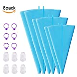 Silicone Pastry Bags,6 Pack reusable piping Bags Cookie Cake Baking Decorating Bags with 6 Standard Couplers and 6 Icing Bag Ties