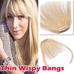 "Clip in Hair Bangs Human Hair Clip on Hair Fringe Extensions Flat Wispy Air Fringe Thin with Temple for Women One-piece 5"" Hairpiece #613 Bleach Blonde"