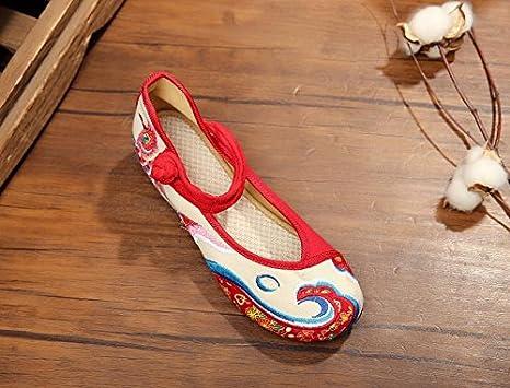 XHX Gestickte Schuhe, Leinen, Sehnensohle, ethnischer Stil, weibliche Schuhe, Mode, bequem, Tanzschuhe , red , 39