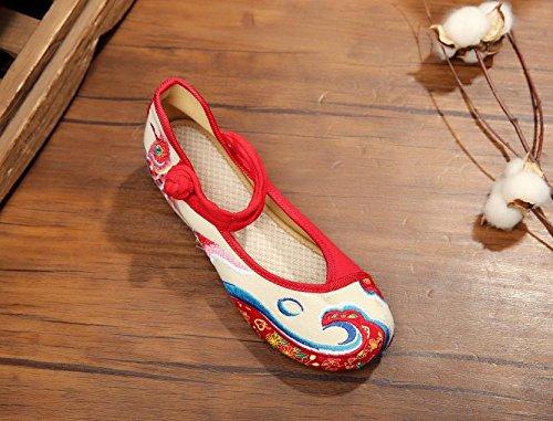 XHX Zapatos bordados, carpa, lino, lenguado, estilo étnico, femenino, moda, cómodo, bailando zapatos white red