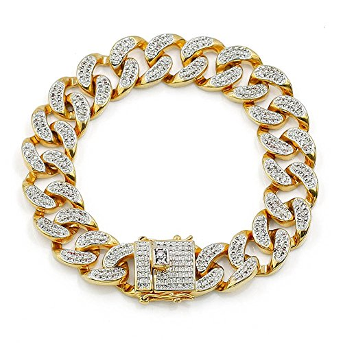 - JINAO 14mm 18k Gold Plated All ICED Out Simulated Diamond Miami Cuban Chain Bracelet 8