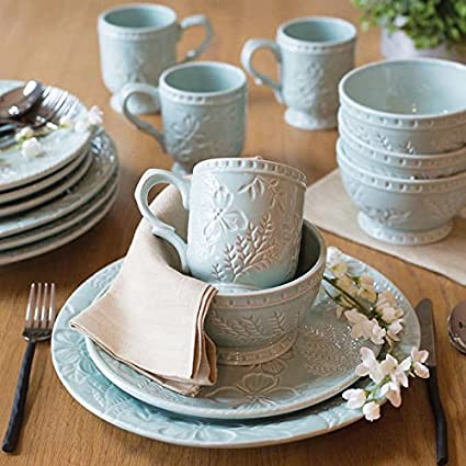 Fitz u0026 Floyd English Garden Dinnerware 16-Piece Set in Engraved Pattern Design Dinner & Amazon.com | Fitz u0026 Floyd English Garden Dinnerware 16-Piece Set in ...