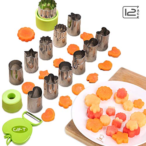 Vegetable Cutters Shapes Set 12pcs, Mini Cookie Cutters, Fruit Shape Cutters for Kids Kitchwise