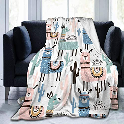 KiuLoam Flannel Blanket Cute Llamas with Cactus Fleece Throw Blanket for Couch Sofa Living Room Bedroom 50x60 Inches for Kids Women Men