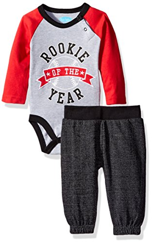 BON BEBE Baby Boys' 2 Piece Bodysuit Set with Sweatpant, Rookie of the Year Gray, 3-6 Months (Body 2 Piece Set)