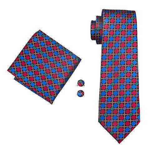 Check Necktie - Hi-Tie Tartan Plaid Check Tie Jacquard Necktie Pocket Square Cufflinks Set Gift Box (COLOR)